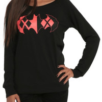 DC Comics Harley Quinn Batman Logo Girls Pullover Top