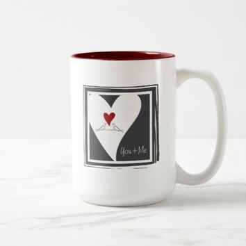 Red Heart White Doves In Love Rustic Modern Two-Tone Coffee Mug