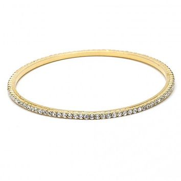 Gold Layered 07.97.0049 Individual Bangle, with White Cubic Zirconia, Polished Finish, Golden Tone (03 MM Thickness, Size 5 - 2.50 Diameter)