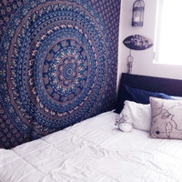 Blue Queen Sixe Wall Hanging Hippie Indian Mandala Bedspread Tapestry bohemian Ethnic Throw on RoyalFurnish.com
