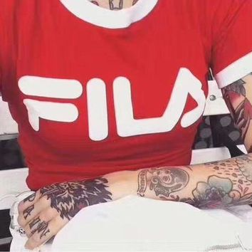 FILA Stylish Women Letter Print Round Collar T-Shirt  Cropped Top Red I
