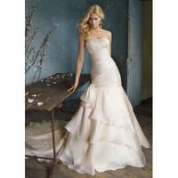 A-line Sweep Train Strapless Satin and Organza with Beading Wedding Dress [TWL120116019] - $194.99 :