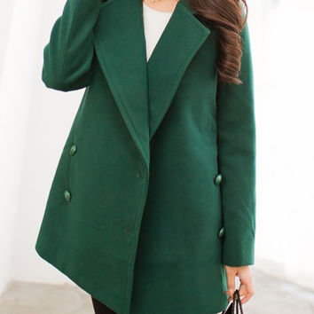 Double-Breasted Long Sleeve Woolen Coat