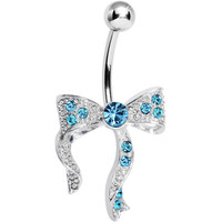 Aqua Gem Bewitching Bow Belly Ring | Body Candy Body Jewelry