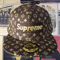 Louis Vuitton LV x Supreme Fashion Woman Men Embroidery Sunhat Baseball Hat Cap