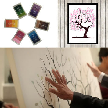 Customized Canvas Fingerprint Tree Wedding Guest Book Painting + 24 Colors Ink Pads DIY Baby Shower Birthday Party Decoration