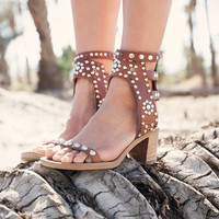 Metal rivets sandals open toe wooden chunky high heel sandals rock style ankle strappy roman
