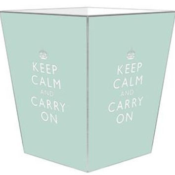 Light Blue Keep Calm and Carry On Wastebasket