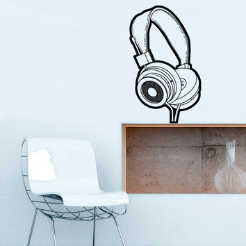 Wall Decal Vinyl Sticker Decals Headphones Music Notes Beats Audio Art Cord (z2659)