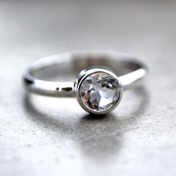 White Topaz Ring, Winter Ice Faceted Topaz Gemstone Bright Sterling Silver Ice Clear Ring -  Made to Order