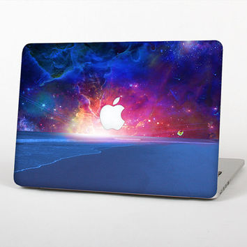 The Galaxy Explosion over Calm Sea Shore Skin Set for the Apple MacBook Laptop (Most Versions Available - Choose Coverage)