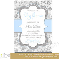 Shimmer Blue Gray (vertical) - Baby Shower Invitation - Baby Boy - vintage style distressed finish PRINTABLE INVITATION DESIGN