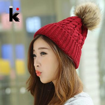 Free Shipping Winter Cap Female Beanies Knitted Imitate The Fox Fur Ball Hat Casual Knitted Warm Hats For Women