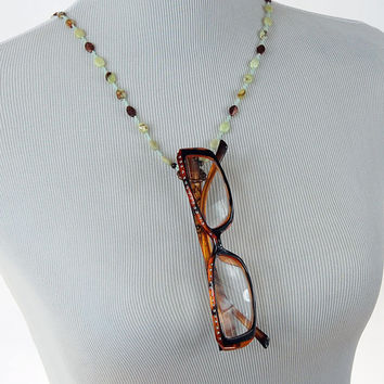 Chrysoprase, Antiqued Copper and Lime Green Seed Bead Eyeglass Lanyard, Glasses Lanyard, Ring Lanyard, Gemstone Eyeglass Lanyard, Stone