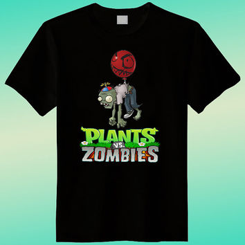Zombie vs plant ( Ballon style ) Black Shirt , Funny Shirt, Joke Shirt, Ladies Shirt, T shirt Mens, T shirt Girls, Screenprint