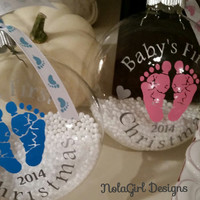Baby's First Christmas, glass w/vinyl ornament, New Baby's Christmas Ornament, Round glass ornament with vinyl baby feet,christmas gift