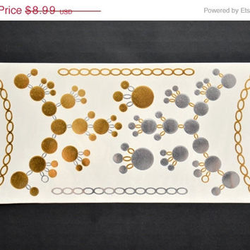 SALE! Metallic Gold and Silver Temporary Tattoo Bracelet Armband - Flash Tattoo - Easy Application Jewelry Body Ink Art
