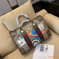 HCXX 19Oct 036 Gucci Chain Knit Strap Handle Large Capacity Fashion Weekend Duffel Bag 42-17-29cm
