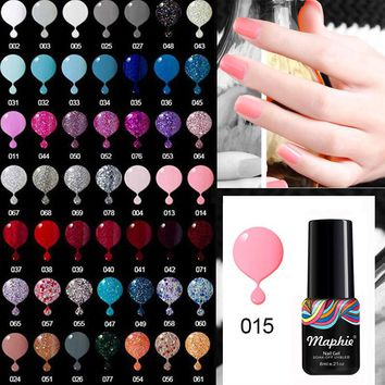 Maphie Black Color UV Gel Nail Polish 6ML Nail Art Soak Off UV Nail Polish Lacquer Semi Permanent Led Nail Gel Enamel