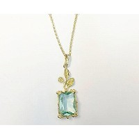 SALE   Handmade 18K Yellow Gold Natural 7CT Emerald Cut Blue Aquamarine Pendant Leaf Necklace