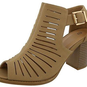 Cambridge Select Womens Peep Toe Caged Laser Cutout Chunky Stacked Block Heel Ankle Bootie