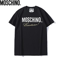Moschino Summer Fashion New Bust Embroidery Letter Print Women Men Top T-Shirt Black