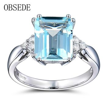 OBSEDE Fashion Jewelry Light Square Blue Cubic Zircon Ring Silver Plated Crystal Jewelry for Women Female Wedding Anniversary