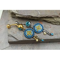 Aztec Southwestern Silver or Gold Belly Button Ring