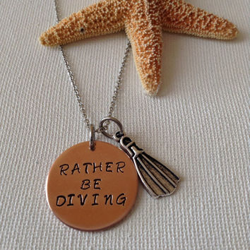 Rather be diving necklace, divers, gifts for divers, swimmers, aquatic necklace, ocean lovers, gifts for water lovers, snorkelers.