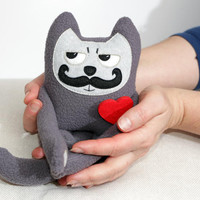 Soft Toy mini mustached Cat in love Valentines Day