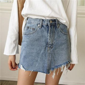 Mini Saia Washed Faldas Casual Pencil Skirt 2018 Summer Jeans Skirt Women High Waist Irregular Edges Denim Skirts Female