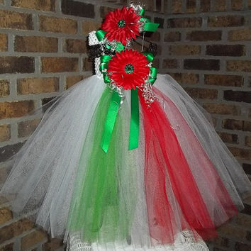 Bright, Colorful Tutu Dress-Red/White/Green-Baby/Infant/Toddler/Girl-Birthday,Celebration,Party,Holiday,Unique,Gift,1st,Birthday-Photo-
