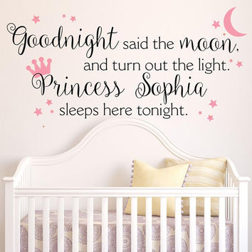 Princess Crown Personalized Vinyl Wall Decal - by Decor Designs Decals, Large Vinyl Wall Decal Girls Nursery Bedroom Home Decor Princess Decal Crown Wall Decal B15