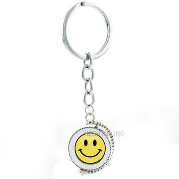 Smiley symbol keychain cute Happy Smile Face men women happiness double sides pendant key chain ring holder New Year gifts T186
