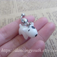 Lovely Bull Terrier Charm Belly Button Ring, Crystal Belly Ring,