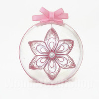 pink christmas tree ornament, clear ball decoration, paper ornament, christmas star, 6 pointed star, holiday decoration, paper snowflake