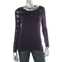 INC Womens Petites Knit Mesh Inset Pullover Top