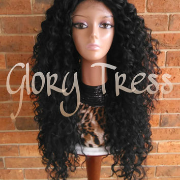 ON SALE // Long Beach Curly Lace Front Wig, Black Curly Wig, Big Curly Hairstyle // DREAM2 (Free Shipping)