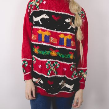 Vintage Dog 3D Knit Ugly Christmas Sweater