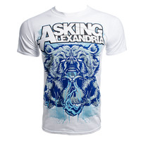 Asking Alexandria Bear Skull t shirt, White band t shirt, AA merch UK