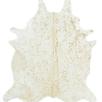 Ivory with Matte Gold Metallic Brazilian Cowhide Rug