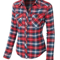 LE3NO Womens Slim Fit Long Sleeve Plaid Flannel Button Down Shirt (CLEARANCE)