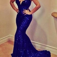 Strapless Blue Sequined Mermaid Dress