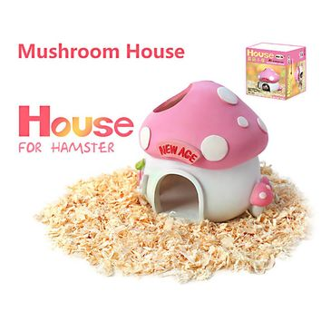 Hamster House Resin Bedroom Small Pet Toy Mouse Chinchilla Rat Cage Mushroom House Castle Style Hideaway Nest Cabin FreeShipping