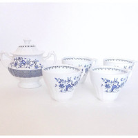 J G Meakin England, China Teacups and Ceramic Sugar Bowl, Blue and White China, Ironstone China, English Tea Set