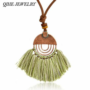 QIHE JEWELRY Multi colors tassel pendant bronze leather chain necklace Long chain necklace Hippie jewelry Boho chic gifts