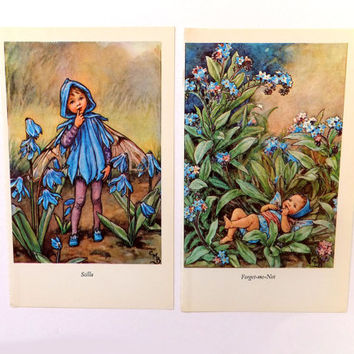 Set of 2 Flower Fairies Picture, Vintage Bookplates, Scilla and Forget me Not Fairies, Blue flowers, nursery decor, Cicely Mary Barker