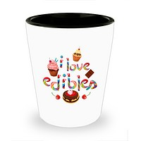 I Love Edibles Cannabis Sweets Cake Drinking Shot Glass