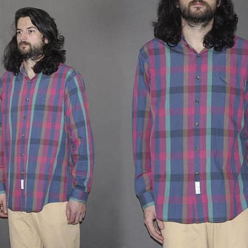 Mens Vintage 90s PLAID BUTTON DOWN Shirt / Grunge Plaid / Long Sleeve Oxford / Blue and Magenta / Large