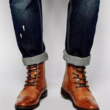 ASOS | ASOS Brogue Boots in Leather at ASOS